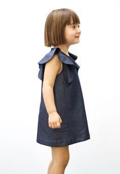 Manuela dress in Blue Denim - Petit & Small Girl Fashion Style, Little Girl Fashion, Kids Fashion, Blue Dresses, Girls Dresses, Trendy Kids, Cute Outfits For Kids, Apparel Design, Kids Wear