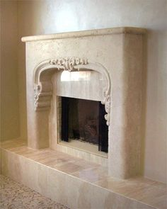 Purchase our lightweight Venetian Stone Fireplace Mantel Surround with nouveau French Modern and Italian design elements.  Natural limestone look and feel.