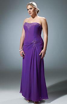 Brides Magazine: Bridesmaid Dresses Gallery purple strapless plus size #bridesmaid #dresses #wedding