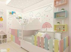 Quarto projetado para duas irmãs, decoração lúdica e linda com aproveitament. Cool Kids Bedrooms, Kids Bedroom Designs, Kids Room Design, Baby Bedroom, Baby Room Decor, Girls Bedroom, Bedroom Decor, Kids Bedroom Furniture, Baby Furniture