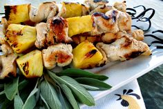 Grilled Pineapple Chicken Kebabs [can be baked/broiled on cookie sheet in winter] #appetizer