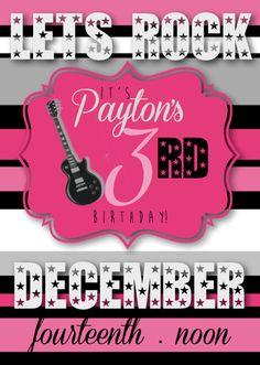 Custom Printable Rockstar Birthday Invitation