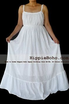 No.066 - Size XS-5X Tiered White Maxi Hippie Boho Gypsy Plus Size Curvy Summer Fashion Outfit Maxi Casual Dress, S,M,L,1X,2X,3X,4X,5X