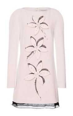 Flower Embellished Wool Crepe Dress  by CAROLINA HERRERA for Preorder on Moda Operandi