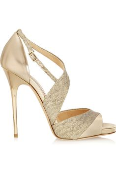 Jimmy Choo | Tyne metallic leather and textured-lamé sandals | NET-A-PORTER.COM