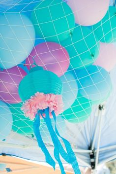 Balloon decorations at a Mermaid Party