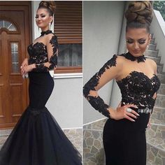 Fitted and Flare Sexy See Through Black Evening Dresses Mermaid Women Long Lace Prom Dresses Long Vestido De Festa Modest Evening Gowns, Long Black Evening Dress, Long Sleeve Evening Dresses, Prom Dresses Long With Sleeves, Black Prom Dresses, Mermaid Evening Dresses, Tulle Prom Dress, Dress Long, Dress Black