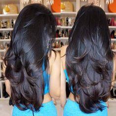 The perfect hair Long Black Hair, Long Layered Hair, Very Long Hair, Long Hair Cuts, Layered Haircuts For Long Hair, Beautiful Long Hair, Gorgeous Hair, Brown Blonde Hair, Dark Hair
