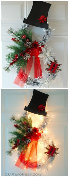 Let's Celebrate // Beautiful lighted grapevine snowman wreath to make for a Christmas door decoration!