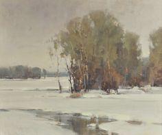 Scott Christensen Marsh Scene - Winter 19 ½ by 23 ½ inches Oil on Canvas