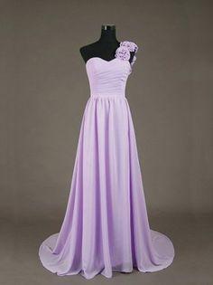 Custom Long Floor Length Chiffon Sweetheart Prom Gown  PromDresses Purple Bridesmaid Dresses Cute Formal Dresses Eveening Dresses