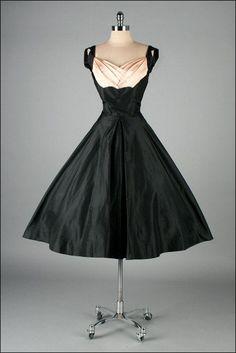 1950's Black and Pink Silk Taffeta Dress
