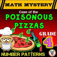Patterns (Number) Math Mystery: Case of The Poisonous Pizzas - A fun and engaging math activity! 4th Grade Activities, Numeracy Activities, 4th Grade Math, Grade 3, Third Grade, Math Patterns, Number Patterns, Shape Patterns, Fun Math