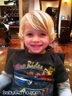 This article shows the progression of long toddler boy hair to a cute longish style. We might need to do this!