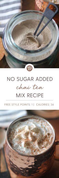 chai tea mix recipe (sugar free w/Stevia) Sugar Free Recipes, Ww Recipes, Diabetic Recipes, Low Carb Recipes, Cooking Recipes, Healthy Recipes, Recipies, Smoothies, Smoothie Drinks