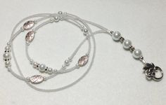 Snowdrop  beaded lanyard  white pearl and silver by llanywynns, $18.00