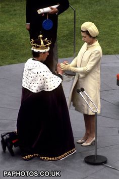 The Investiture at Caernarvon Castle of the Prince of Wales by his mother, Britain's Queen Elizabeth II.  1969