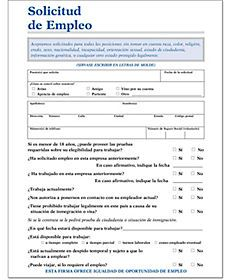 Employment Application Spanish Employment Application Job