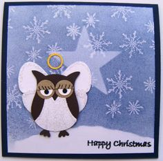 Use the Owl punch. The wings are made using the retired Butterfly punch, and the background is Serene Snowflakes. Tear some white paper and/or stretch, thin and shape some cotton for a flufy cloud. Homemade Christmas Cards, Homemade Cards, Handmade Christmas, Owl Punch Cards, Owl Card, Christmas Angels, Christmas Poinsettia, Crochet Christmas, Christmas Paper