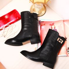 Ladies Sexy round head Buckle cowhide ankle boots women motorcycle boots women genuine leather shoes chaussure femme $69.90 - 89.90
