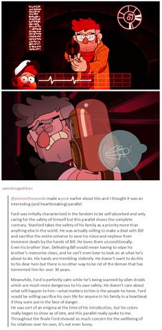 weirdmageddon:  @pinesinthewoods made a post earlier about this and I thought it was an interesting (and heartbreaking) parallel.  #UGH SO BEAUTIFUL #FORD MY BROKEN SON #gravity falls