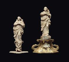 Due figure di Immacolata in avorio scolpito, Maestranza trapanesi del XVIII secolo