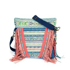 Ibiza purse fringed in pink green and jeans blue by CatenaSieraden