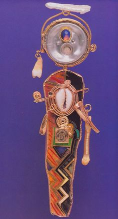 William Harper    SELF-PORTRAIT OF THE ARTIST AS ST.ANTHONY  1987   Gold cloisonne' anale on fine gold and fine silver; 14 and 24 kt gold; aluminum;opal; quartz; bone; pearl; shell; tooth     William Harper