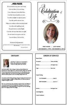 Custom Funeral Programs Tri Fold Brochure Templates