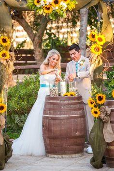 sunflower wedding arch for rustic wedding