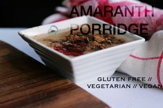 P E T I T E O L I V E gluten free amaranth porridge with cocoa, chocolate sauce and raspberry syrup. Vegan, Vegetarian.