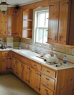 Before And After: A Country Kitchen Lightens Up. Pine Kitchen CabinetsKnotty  ...