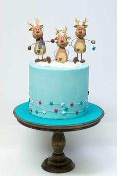 Новогодний тортик с оленями