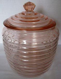 Vtg Anchor Hocking Manhattan Pink Depression Glass Cookie Biscuit Jar Canister   eBay