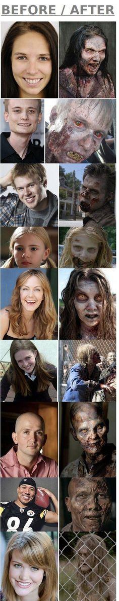 The Walking Dead zombies before and after make up...man kann auch Dicksein hässlich oder auch schön gestalten...wie Make up verschönern oder wie mans braucht. Oder man kommt ganz und gar klar mit dem Aussehen klarzukommen, wie's ist, einfach zufrieden.