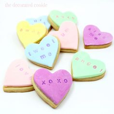 Stamped conversation heart cookies a Valentine's Day food craft idea from my book Sugarlicious. Stamped conversation heart cookies a Valentine's Day food craft idea from my book Sugarlicious. Valentine Desserts, Valentines Day Food, Valentine Cookies, Easter Cookies, Birthday Cookies, Christmas Cookies, Valentine Ideas, Mocha Cheesecake, Low Carb Cheesecake