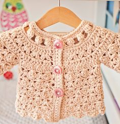 Shell and cluster cardigan crochet pattern for sale from Mon Petit Violon