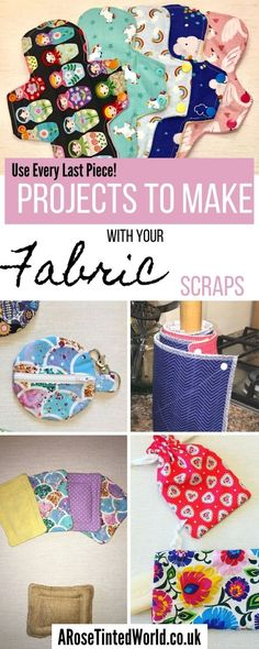 Fabric Scraps - How To Use Every Last Piece. ⋆ A Rose Tinted World - - Fabric scraps are an inevitable side affect of a sewing hobby. To try and remain zero waste, here are some ideas on how to use up even your smallest scraps! Scrap Fabric Projects, Small Sewing Projects, Sewing Projects For Beginners, Sewing Crafts, Sewing Hacks, Sewing Ideas, Fabric Gifts, Fabric Bags, Fabric Scraps