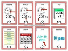 Time Vocabulary Cards and Word Wall - This is a set of 24 time vocabulary cards that make a great addition to a primary unit on time or measurement. #flashcards #math