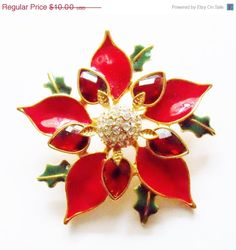 Off Vintage Poinsettia Brooch Pin Red Clear Crystals Winter Holidays Christmas Gift for Her Classy Christmas, Christmas Gifts For Her, Winter Holidays, Christmas Holidays, Christmas Poinsettia, Christmas Tree, Christmas Jewelry, Clear Crystal, Etsy Vintage