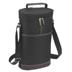 Picnic at Ascot  Insulated 2 Bottle Travel Wine Tote with Corkscrew  Shoulder Strap Black ** You can get more details by clicking on the image.