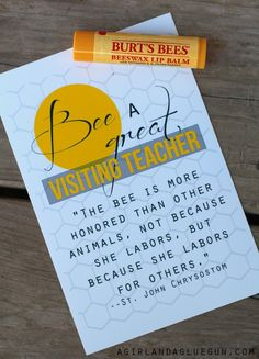 bee a great visiting teacher lots of free printable Visiting Teaching Conference, Visiting Teaching Gifts, Relief Society Lessons, Relief Society Activities, Enrichment Activities, Church Activities, Teacher Appreciation Gifts, Teacher Gifts, Volunteer Appreciation