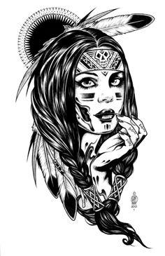 Dessin noir & blanc d'une jolie Indienne d'AmériqueA partir de la galerie : Indiens D Amerique