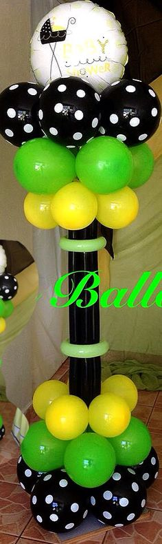 Baby shower balloon column in rather unusual colors. Balloon Arrangements, Balloon Centerpieces, Baby Balloon, Baby Shower Balloons, Ballon Column, Sailing Party, Peanut Baby Shower, Balloon Stands, Balloon Backdrop