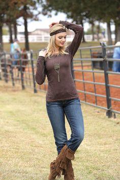Western Shirts : Brown Long Sleeve Shirt - Cruel Jeans, Shirts and Apparel