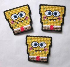 free Download Plastic Canvas magnet Patterns | RESERVED for CELIA 3 Spongebob decals by AuntCC on Zibbet