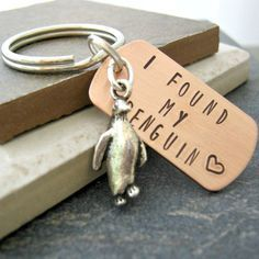 Personalized I Found My Penguin keychain, choose to add optional disc with initials, anniversary gift, engagement gift, wedding gift - Trend Resiliance Quotes 2020