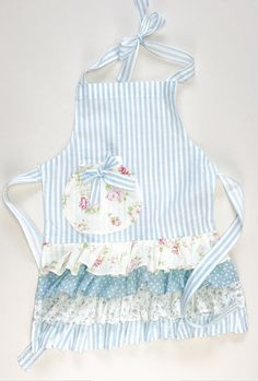 Children's Blue Stripe and Floral Ruffle Apron, Easter apron, Mommy and me apron, toddler apron, Lit Toddler Apron, Kids Apron, Ruffle Apron, Apron Dress, Retro Apron Patterns, Dress Patterns, Cobbler Aprons, Childrens Aprons, Japanese Sewing