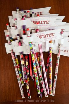 Cheap and easy handmade Valentine cards for kids; Free printables for candy-free Valentine's, pencils