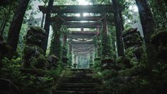 """""""Temple of the Shogun"""" was massively inspired from my childhood feudal Japan game and anime Sam Showdown / Rurouni kenshin. I used unreal in the early stage of the process and rendered the final set in with corona. Photorealistic Rendering, Forest Scenery, Japan Games, Photorealism, Adobe Photoshop, Art Direction, Temple, Photo Wall, Behance"""
